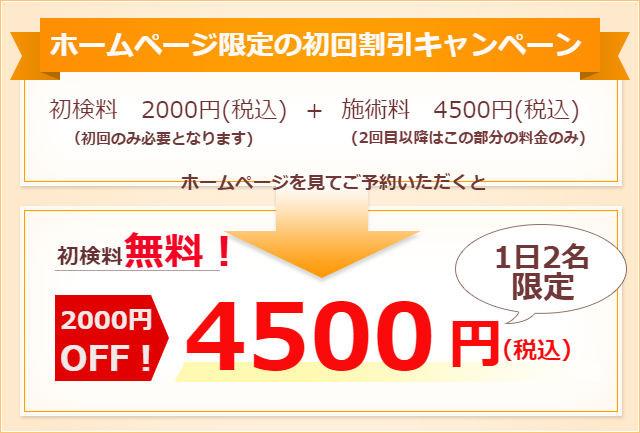 初検料無料!6000円が4500円